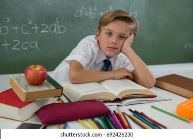Portrait of schoolboy reading book in classroom
