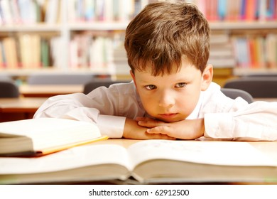 Portrait of a schoolboy sitting at table with books