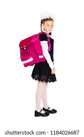 Portrait of schoolkid with school backpack isolated on white background