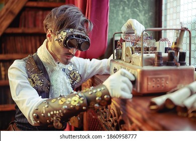 Portrait of a scientist steampunk man working in his laboratory with Victorian interior. Steampunk inventions.
