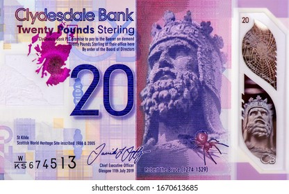Portrait of the Scottish king Robert the Bruce, Portrait from Scotland 20 Pounds 2019 Polymer Banknotes. An Old Polymer banknote, vintage retro. Famous ancient Banknotes. Collection.