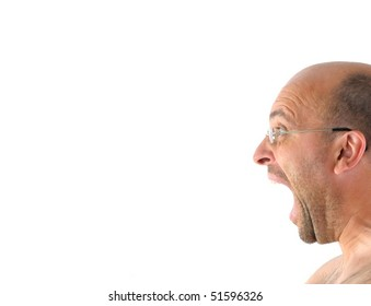 Portrait of screaming angry man isolated on white