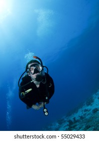 portrait of a scuba diver underwater