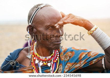 Portrait of senior, african woman, Masai Mara