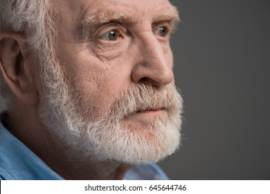 portrait of senior bearded man isolated on grey in studio