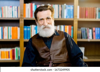 Portrait of senior bearded man, librarian or academic professor, sitting on the background of bookcases and shelves in library or book store market. Happy world book day, library concept