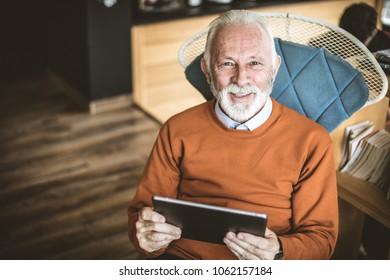 Portrait of senior businessman .