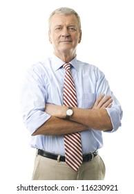 Portrait of a senior businessman smiling against white background