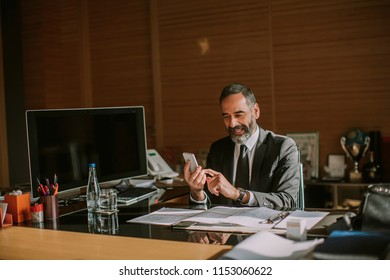 Portrait of senior businessman using mobila phone and working in modern office