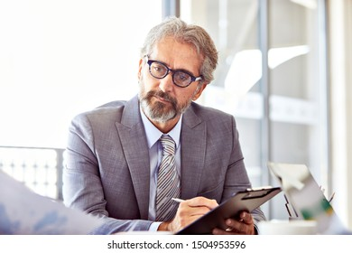 portrait of a senior businessman working in the office. business concept