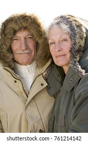 portrait of a senior couple in winter