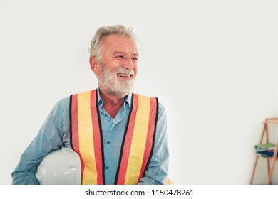 Portrait of senior engineer on isolate background with laughing emotional.
