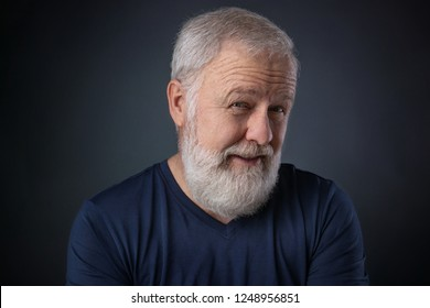 Portrait of senior with gray beard and a suspicious look