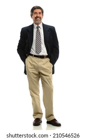 Portrait of senior Hispanic businessman standing isolated over white background