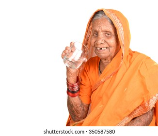 Portrait of a senior Indian woman wearing traditional dress