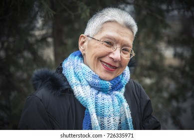 Portrait of a senior lady in the cold weather