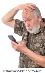 Portrait of senior man confused with something at mobile smartphone, isolated on white background