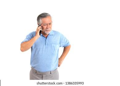 Portrait senior man feel Bad mood using a smart phone isolated on white background - lifestyle senior male concept