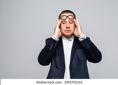 Portrait of senior man with glasses on white background