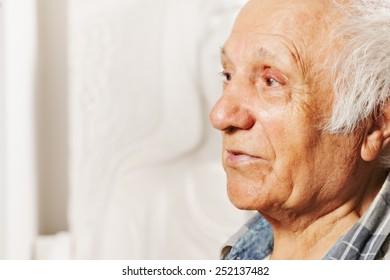Portrait of a senior man looking sideways