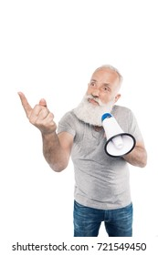 portrait of senior man with loudspeaker pointing to something isolated on white