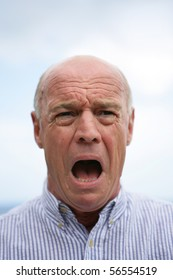 Portrait of a senior man in panic