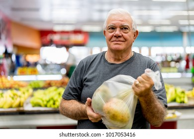 Portrait of a senior man at the supermarket