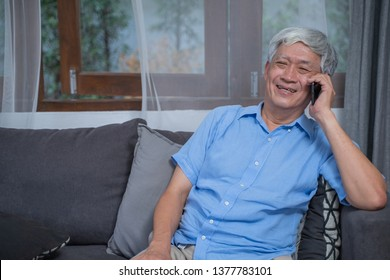Portrait of senior man talking moblie phone ,Older with technlogy device lifestyle concept