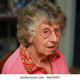 Portrait of a senior woman with a confused expression