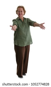 Portrait of senior woman doing welcoming gesture while standing against white background