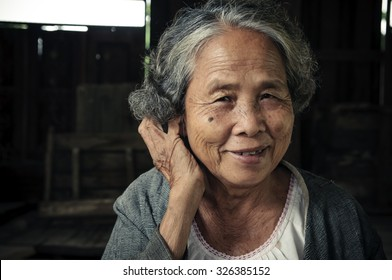 Portrait of senior woman at the home, Lifestyle of Asian old women concept