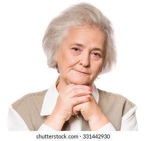 Portrait of senior woman isolated on white background