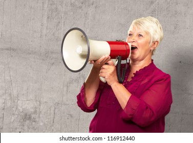 Portrait Of A Senior Woman With Megaphone, Background