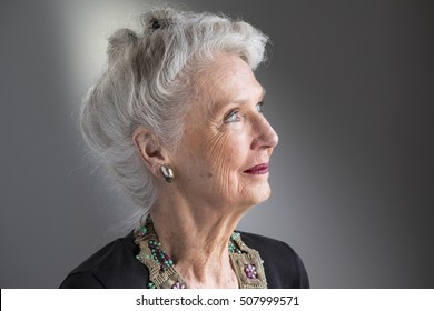 Portrait of a senior woman in profile, close up