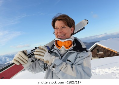 Portrait of a senior woman with ski mask
