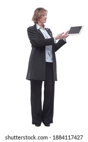 Portrait of senior woman with tablet computer, isolated on white