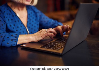 Portrait of senior woman that sits indoors in the cafe with modern laptop.