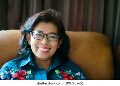 Portrait of senior woman wear glasses.Senior Adult Women Smiling Happy Concept.