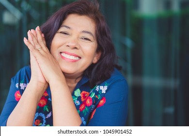Portrait of senior woman.Senior Adult Women Smiling Happy Concept