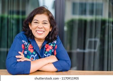 Portrait of senior woman.Senior Adult Women Smiling Happy Concept