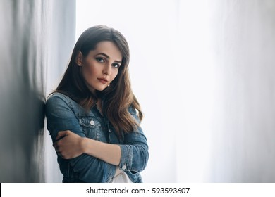 Portrait of sensual beautiful woman. Lonely girl
