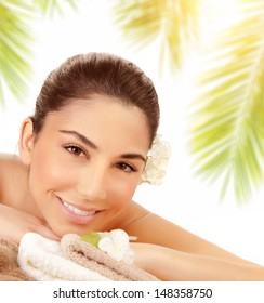Portrait of sensual smiling girl enjoying massage outdoors, alternative medicine, pampering and healthcare, luxury spa resort, summer vacation concept