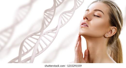 Portrait of sensual woman with closed eyes in DNA chains. Isolated on white background.