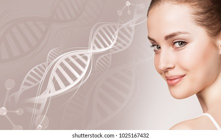 Portrait of sensual woman in DNA chains.