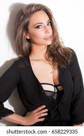Portrait of a sensual young brunette woman.