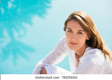 portrait of a serene woman in summer