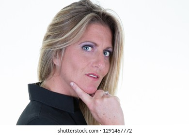 Portrait of serious businesswoman on white background