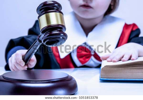 Portrait Serious Child Girl Judge Lawyer Stock Photo (Edit