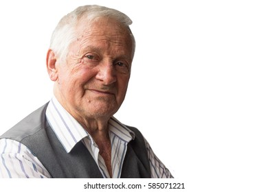 Portrait of serious elderly man of eighty years isolated on white background.