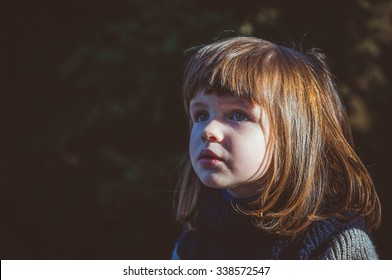 portrait of a serious little girl